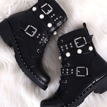 Wild Diva Lounge Studded Pearl Double Straps Combat Boots