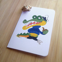 Crocodile captain greeting card, Gouache animal illustration, Cartoon, Snail mail revival