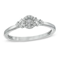 Cherished Promise Collection™ 1/10 CT. T.W. Diamond Frame Ring in Sterling Silver - Size 6 - View All Rings - Zales