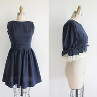 Vintage 60s Navy Short Cocktail Dress with Matching Cropped Jacket | xs 0 2