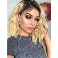 Short 1b/613 Blonde Ombre 150% Density Brazilian Remy Body Wave Lace Front Human Hair Wig With Baby Hair