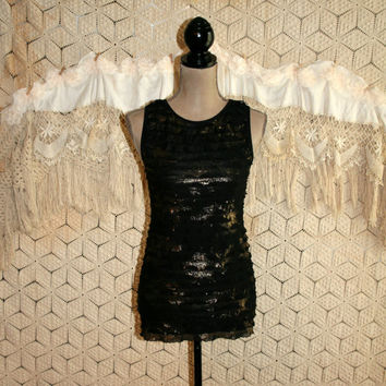 Black + Gold Metallic Club Top Tiered Ruffle Tank Sexy Sleeveless Top Shimmery Evening Party Top Karen Kane XS Small Womens Clothing