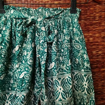 Green Boho Shorts Paisleys print Cotton Gypsy Bohemian Comfy fabric For Beach Summer Women Summer Fashion Beachwear Clothing Gift for her