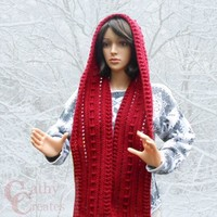 Red Crocheted Hooded Scarf | cathycreates.net