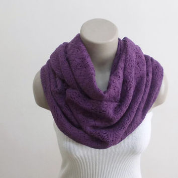 Infinity Scarf Purple Loop Scarf Knitting Winter Scarf Ascot Neck Warmer Thick Warm Scarf Circle Scarf Women's Fashion Accessories
