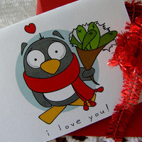 I LOVE YOUPenguinSet of 5 Note Cards by littletoad on Etsy