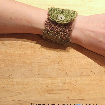 Crochet Jewelry Cuff Bracelet with Button, Green, Mauve, Gray, Stocking Stuffer, Gifts Under 10, Christmas Gift, Winter Accessories