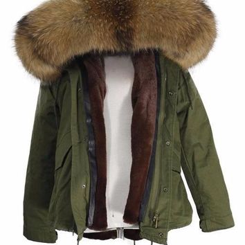 Fur Down Parka with Genuine Raccoon Hood
