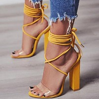 Hot Sale Women Sexy High-Heel Strapping Large-Size Sandals High-Heeled Shoes Yellow