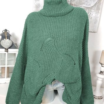Autumn new solid color sweater high collar ebay explosion casual loose openwork sweater
