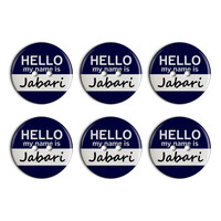 Jabari Hello My Name Is Plastic Resin Button Set of 6