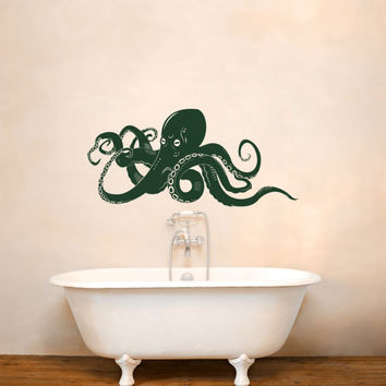 Octopus Removable Wall Decal Kraken Sea Animals Fish Decals Vinyl Stickers Nautical Bedroom Dorm Bathroom Modern Marine Life Decor C138