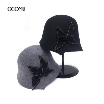 GGOMU Brand new Wool Fedora hats For Women solid color Vintage bowknot hats Ladies Autumn Winter Soft bucket black hat ZLH-171