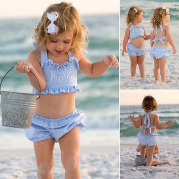 Toddler Baby Girls Summer 2PCS Bathing Suit Ruffle Seersucker Swimsuits Clothes