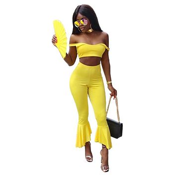 Candy Color Off Shoulder Crop Top with High Waist 7/10 Trumpet Pants Two Pieces Outfit
