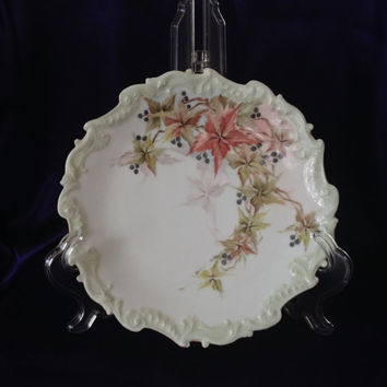 Limoges Elite Bawo & Dotter Cabinet Plate, Hand Painted Leaves, Purple Berries, Antique Porcelain 1891-1914