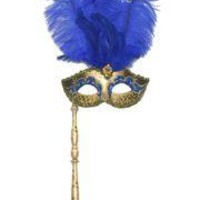 Gold and Blue Venetian Feather Masquerade Mask On A Stick with Large Blue Ostrich Feathers