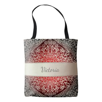 Elegant rococo pattern in red and silver add name tote bag