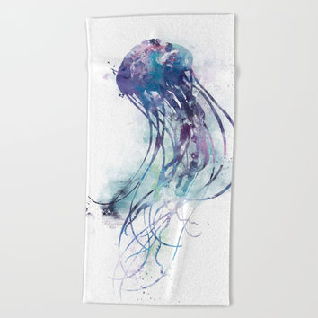 Jellyfish Beach Towel by monnprint