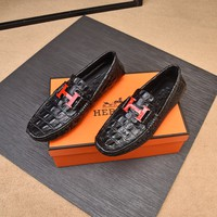 HERMES H logo Mens black COFFEE white 2020 Fashion Casual Leather Business low Top Embroidery Monogram Breathable Leisure Sport Shoes Sneakers running shoe flats AAA quality US6 US7 US8 US 9 US 10 US 11