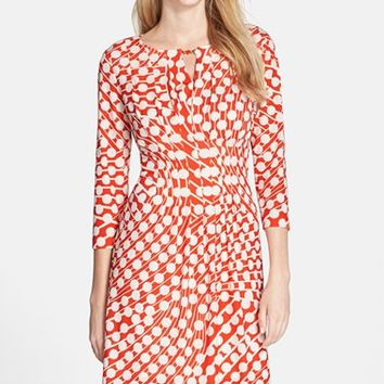 Petite Women's Tahari Print Jersey Fit & Flare Dress