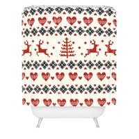 Natt Knitting Red Deer White Hearts Shower Curtain