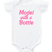 "Funny ""Model with a Bottle"" in pink Barbie font graphic short or long sleeve baby bodysuit/toddler"