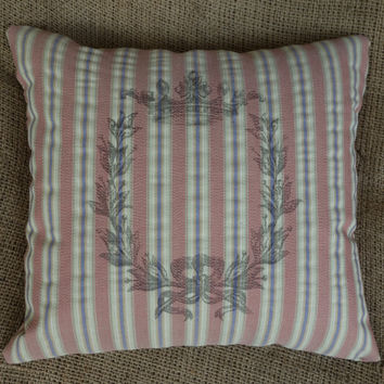 Candy Stripe Toss Pillow with French Crowned Wreath, Handmade Pink Striped Throw Pillow, Easter Gift, Teen Princess Decor