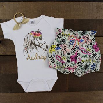 Custom Flower Horse Floral Bloomer Outfit