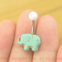 Belly Button Ring,elephant belly button jewelry,turquoise Navel Jewelry,friendship belly ring,elephant navel ring,oceantime