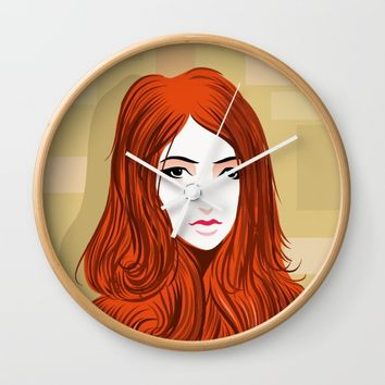 Orange Girls Wall Clock by dhiazkaosy