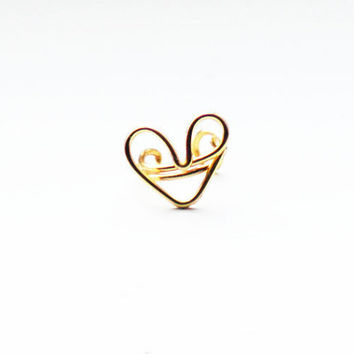 Ear Cuff Gold Heart Ear Wrap Earcuff by MaggieMadeWithLove on Etsy