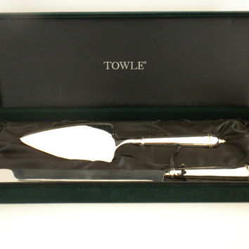 Towle Silver Plate, Serving and Cake Knife Set in Velvet Box