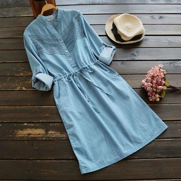 long sleeve hollow out lace patchwork Pocket drawstring waist Spring Autumn denim dress mori girl