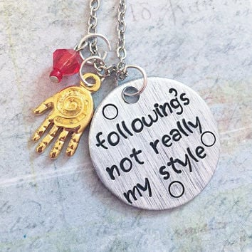 Following's Not Teally My Style Quote Necklace - Superhero Jewelry - Avenger Jewelry - Tony Stark Jewelry - Iron Man Inspired