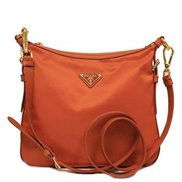Prada BT0706 Orange Tessuto Saffian Nylon and Leather Crossbody Messenger Bag