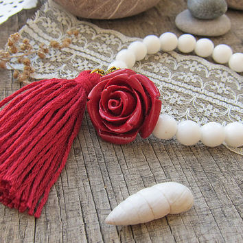 Tassels bracelets White bracelet Beach wedding Boho Bracelet for girl Gifts for teenage girls Girlfriend gift Rose bracelet Red bracelet