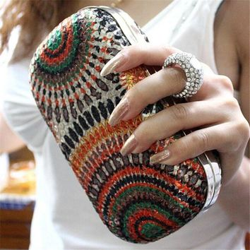 Women Knuckle Ring Sequined Party Clutch Bag