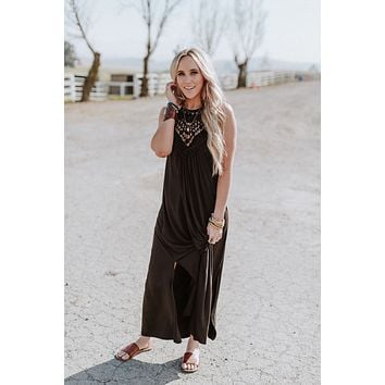 Cecily High Neck Maxi Dress - Black