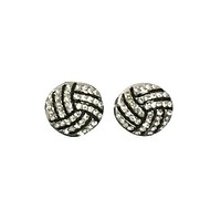 Volleyball Rhinestone Stud Earrings