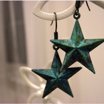 The Patina Star Earrings by sodalex on Etsy