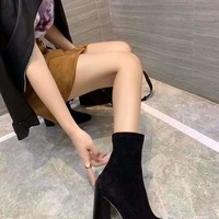 Hermes Trending Women Black Leather Side Zip Lace-up Ankle Boots Shoes High Boots