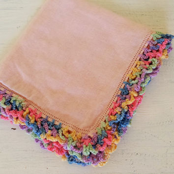 "Vintage Pink Handkerchief / Vintage Linen Cotton Hanky / Crocheted Edge Handkerchief / 11"" Handkerchief / Blush Hanky / Rainbow Trim"