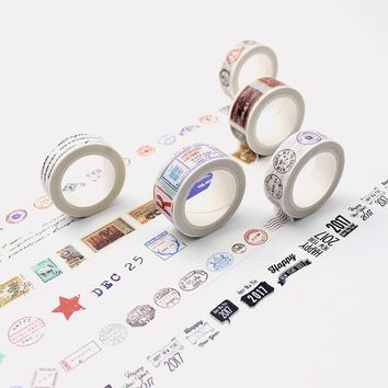 1.5cm*8m Retro postmark washi tape DIY decoration scrapbooking planner masking tape adhesive tape label sticker stationery