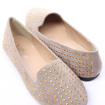 TAUPE FAUX SUEDE STUDDED ROUND CLOSED TOE LOAFER FLATS
