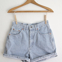 Vintage 80s Railroad Stripe High Waisted Denim Shorts // Women's Striped Shorts