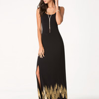 bebe Womens Petite Feather Maxi Dress Black