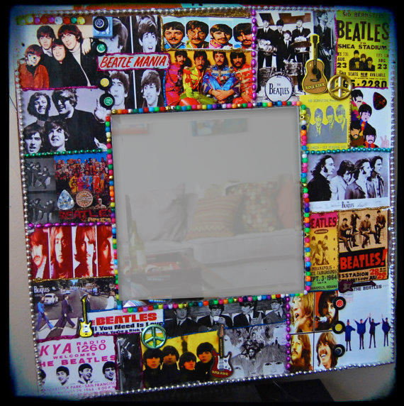 Beatles mirror the beatles wall art rock from kitschyritch on for Beatles bedroom ideas