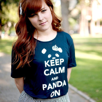 Keep Calm & Panda On TShirt Midnight / White Unisex by steppie