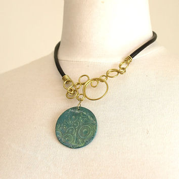 Green patina necklace, Brass circles necklace, OOAK